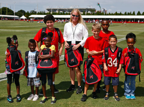 Tampa Bay Buccaneers Practice - Kids with Bucs Backpacks from DEX Imaging