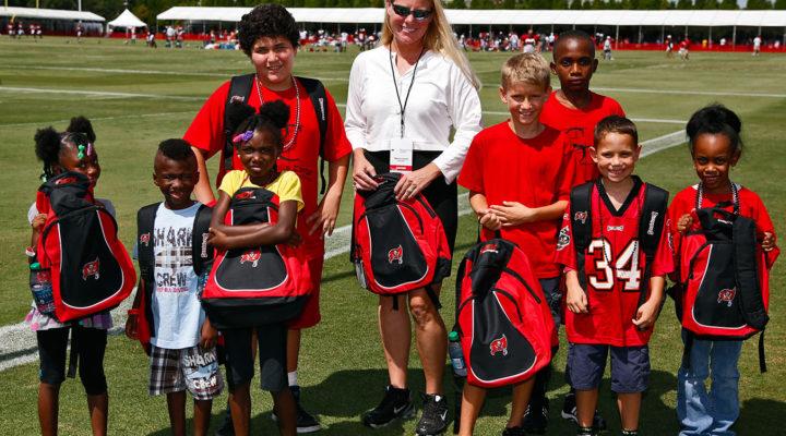 Tampa Bay Buccaneers Practice - Kids with Bucs Backpacks from DEX Imaging