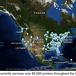 PrintCounts: US Print Patrol Map showing over 85,000 printers serviced