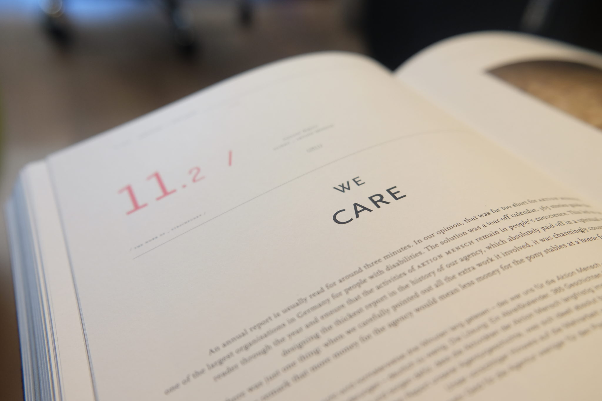 "stock photo: closeup of book page focused on title ""We Care"""